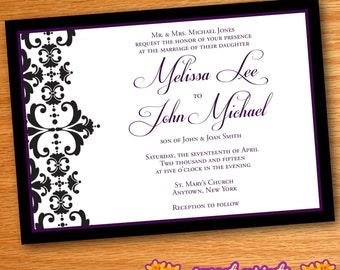 Printed Purple & Black Damask Flourish Wedding Invitations
