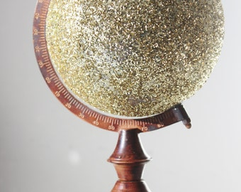 GLITTER GOLD GLOBE World Small Desk Globe With Rotating Stand Glittered Sparkly Vintage Style Glam Travel Theme Wedding Decor Centerpiece