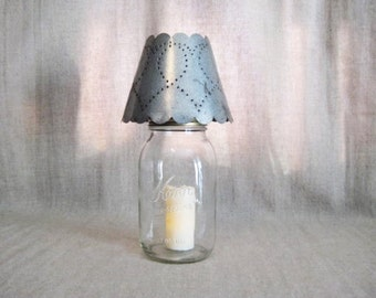 Rustic Punched Tin Mason Jar Candle Shade /Night Light / Vtg Kerr Jar with Punched Tin Shade Candle Holder