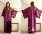 Vintage Japanese Deco Full Length Kimono Robe Duster Jacket