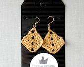 Metallic Golden Crochet Earrings , Diamond Shape Cotton Earrings, Bohemian Jewelry, Boho Earrings, hand-crocheted gift for women triangle