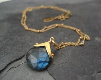 Labradorite necklace, faceted labradorite, blue flash necklace, labradorite pendant