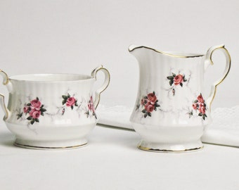 50% Off  Bone China Mini Creamer and Open Sugar Bowl with Handles Hammersley Bone China for Princess House