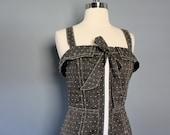 Polkadot Dress, Sleeveless Dress, Gray Dress