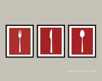 Fork Knife Spoon Art Prints - Kitchen Art Prints - Red and White - Modern Kitchen Decor