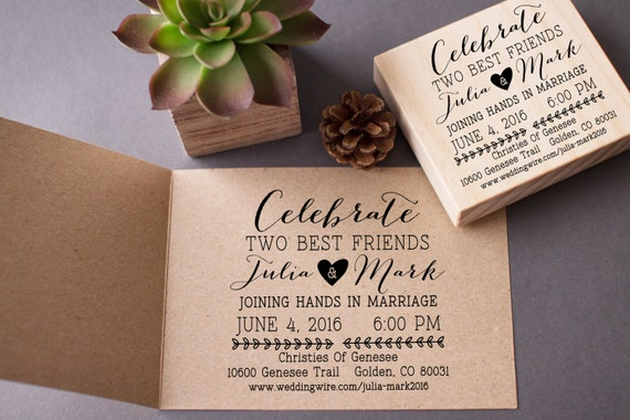 Stamps For Wedding Invitations: Wedding Invitation Stamp Custom Celebrate Best By Stampcouture