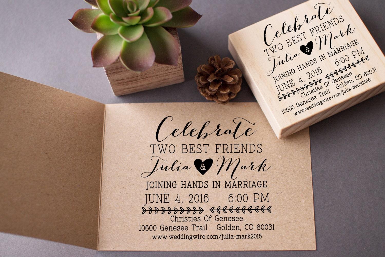 Wedding Invitation Stamp Custom Invite Rubber Stamp