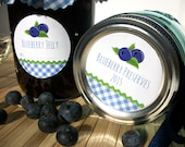 Gingham Blueberry Canning jar labels, round stickers for mason jars, fruit preservation, jam and jelly jars, blueberries, preserves