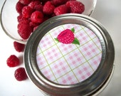 Plaid Red Raspberry Canning jar labels, round stickers for regular mouth jars, fruit preservation, jam and jelly preserves, cottage chic