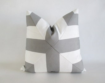 Pillow Cover Mitered Cross Grey & White Indoor Outdoor