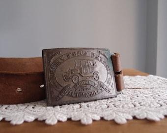 vintage Ford Model T belt buckle with primitive Western Horse tooled leather strap ...size S/M