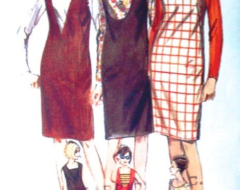 1960's Dress Pattern - Butterick 3650 - UNCUT - Size 12 Bust 32 - One Piece Dress or Jumper - Vintage Sewing Pattern - Shift Dress Pattern