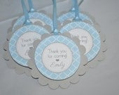 Boys Baby Shower Favor Tags - It's A Boy Favors - Blue and Gray - Boy Baby Shower Decorations - Baby Shower Thank You Tags - Set of 12