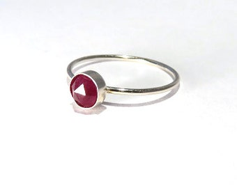 Ruby Ring, Sterling Silver Ruby Ring, Ruby stacking ring, July Birthstone Ring, July Gemstone Ring, Silver stacking ring, Gemstone stacking