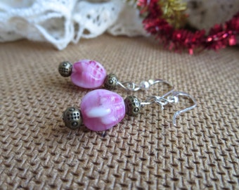 Variegated Pink Glass Bead Earrings with Detailed Gold Accents