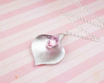 CLEARANCE - Necklace, Lily Necklace, Crystal Necklace, Pink Necklace, Silver Necklace, Flower Necklace, Swarovski, Light Rose, No. SNCC005