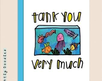 TANK You card, 4 1/2 x 5 1/2, aquarium fish punny card, blank Greeting Card,