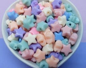 50x 12mm Star Beads in Pastel Multicolours