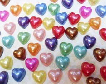 100x 10mm Heart Pearl Cabochon set