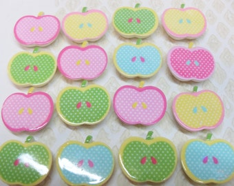 10x 22mm Apple Cabochons in Multicolours