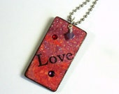 Keychain Rectangle Decoupaged Wood Key Chain Swarovski Crystal Embellished Red and Purple Gift for Her Under 10