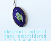 Purple Statement Necklace. Embroidered Pendant. Abstract Art Wearable Cocktail Necklace. Layering Necklace. Colorful Statement Jewelry.