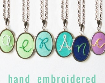 Initial Necklace Hand Embroidery Personalized GIfts for Mom Mothers Day Necklace Embroidery Pendant Letter Necklace