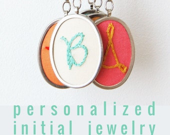Initial Necklace. Hand Embroidery. Personalized Jewelry Gifts for Women. Initial Jewelry. Monogrammed Gifts under 50. Made to Order Necklace