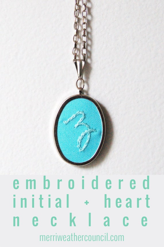 Embroidered Initial Necklace. Custom Embroidery, Colorful Initial Pendant. Personalized Jewelry Gifts.  Letter Necklace. Handwriting Jewelry