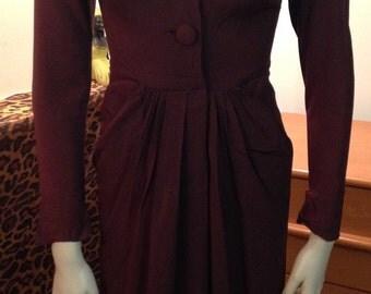 Dorothy O'Hara Dress Brown Crepe Chocolate Designer Joan Crawford Mid Century Wiggle Swing