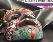 Frank - Ceramic - Horror Mask - Wall Hanging - Hand Painted - Re-purposed - One of a kind