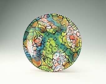 "Art Plate in New Crazy Creek Pattern 10"" Round Hand Painted Dinnerware"