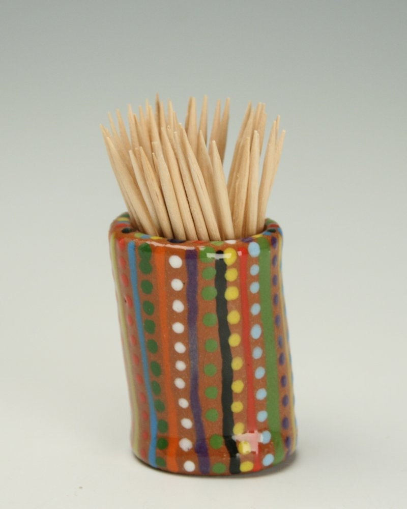 Small red clay toothpick holder colorful by owlcreekceramics - Toothpick holder for purse ...