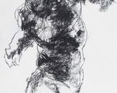 """Dynamic Male Figure Drawing - 18 x24"""",  fine art - Drawing 188 - charcoal on paper - original drawing"""
