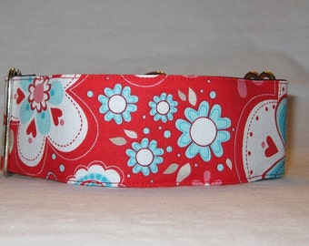 Red Love Martingale Dog Collar - 1.5 or 2 Inch - white blue teal turquoise flowers floral fun hot hearts sweet cute