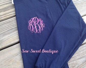Long Sleeve Embroidery Monogram Monogrammed Shirt Adult Sizes Personalized Bridesmaid Gift Christmas Stocking Stuffer Embroidered