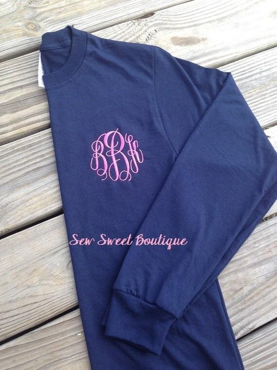 Long sleeve embroidery monogram monogrammed shirt adult sizes