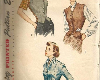 1940s Jacket Weskit V Neck or Notched Collar Shaped Hem Cuffed Sleeves Simplicity 2962 Size 12 Bust 30 Women's Vintage Sewing Pattern