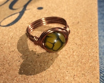 SIZE 6.25 , 6 1/4 - Green Fire Agate antique copper wire wrapped ring - stone gemstone jewelry - women men - snake black - wire wrap