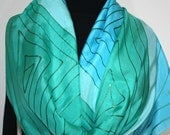 Silk Scarf Handpainted. Turquoise, Teal Hand Painted Shawl. Handmade Silk Wrap SUMMER LAGOON. Large 14x72. Bridesmaid,Gift. Gift-Wrapped