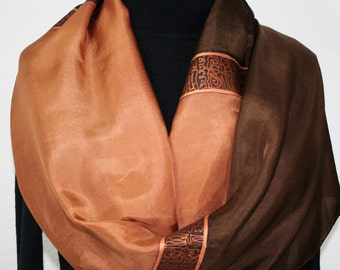 Silk Scarf Hand Painted. Silk Shawl. Caramel, Chocolate Brown Hand Dyed Silk Scarf DULCE CHOCOLATE. Large 14x72 Birthday Gift. Gift-Wrapped
