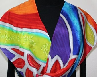 Silk Scarf Handpainted. Red, Blue, Yellow Hand Painted Shawl. Handmade Silk Scarf SPRING GARDEN. Large 14x72. Bridesmaid, Mother Gift.