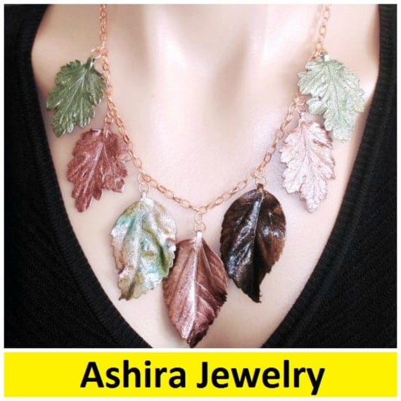 Ashira Copper Green Brown Bib of Natural Leaves - AWESOME