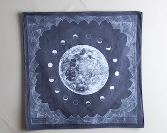Lunar Tides - logwood/iron/tannin naturally dyed screen printed bandana