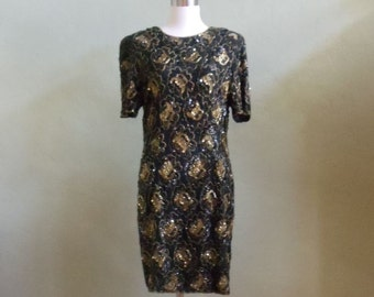 """Vintage 80's Stenay Black Evening Dress Embellished with Sequins Plus Round and Bugle Beads Bust 41"""" Waist 36"""""""