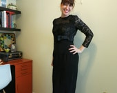 Black lace dress gown nude illusion dress by William Pearson S