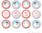 PRINTABLE Personalized Winter Birthday Girl Party Circles