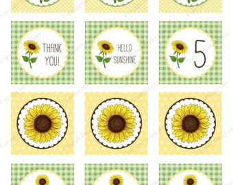 Sunflower cupcake toppers - Customised printable 2 inch party circles, birthday party, baby / bridal shower, wedding, digital sheet - CT020