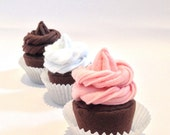 Felt food chocolate cupcake set eco friendly children's pretend play food for toy kitchen