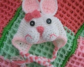 Crochet Baby Bunny Hat,Baby Bunny Hat, Crochet Bunny Hat, Pink and White Bunny Hat, Baby Newborn Hat, Easter Hat,Easter Bunny Photo Prop Hat
